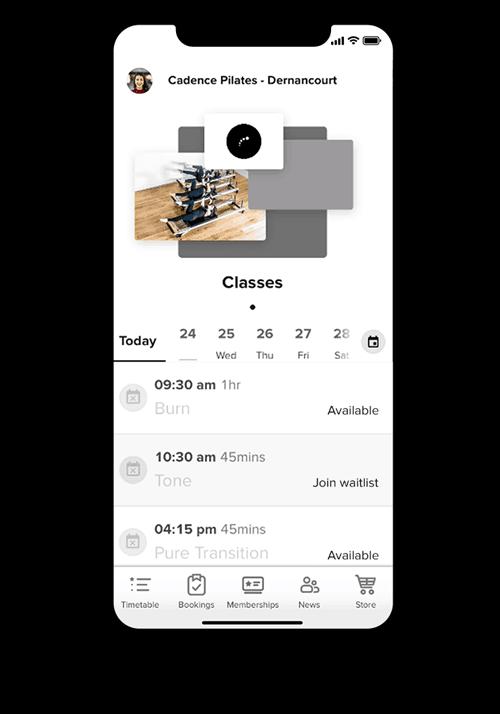 Pilates Class Schedule - Pilates Studio Mobile App